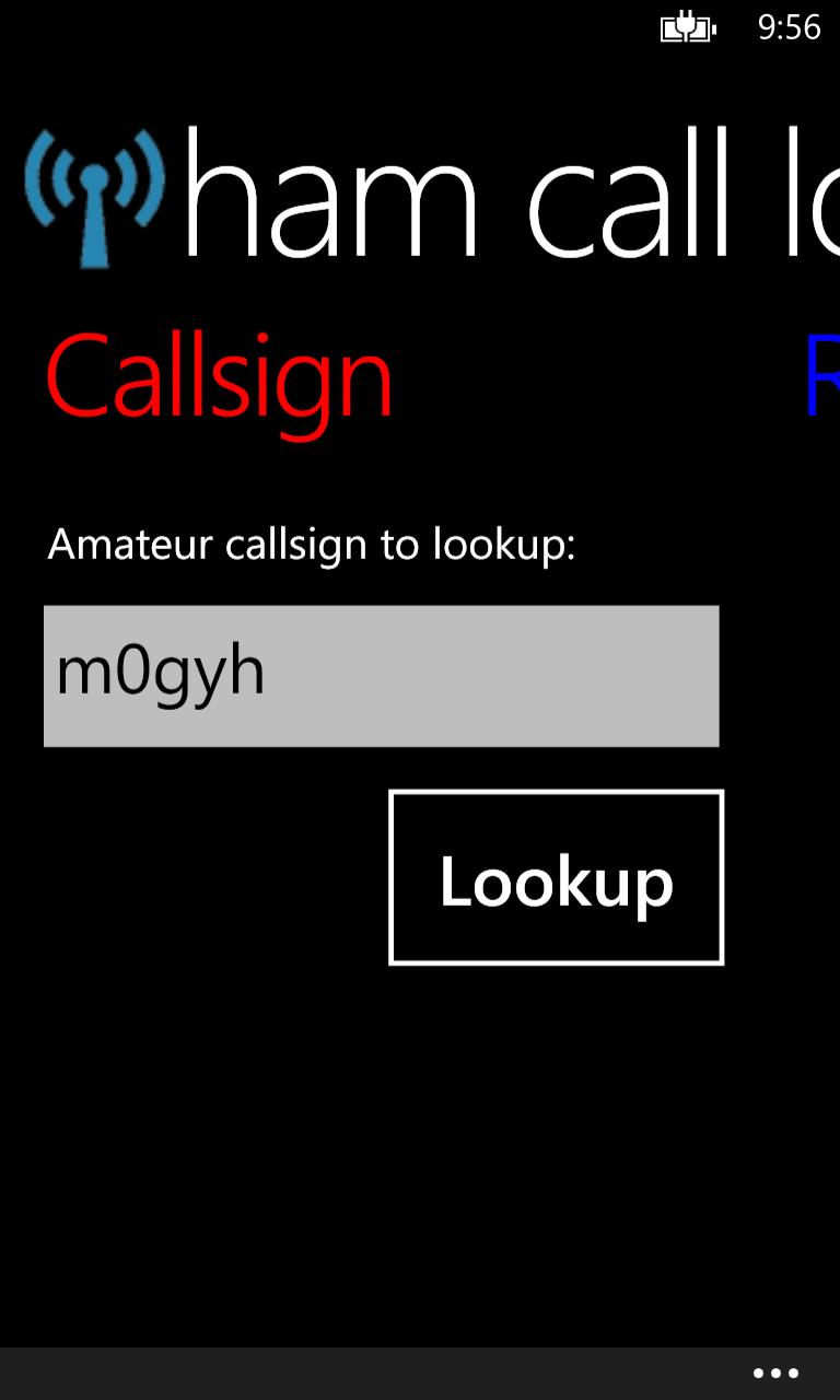 Amateur callsign search